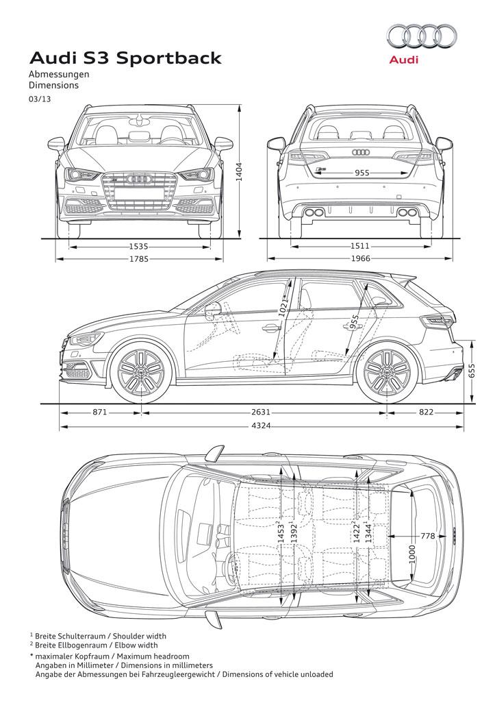 Afmetingen Audi A3 Sportback 2013 Carblogger