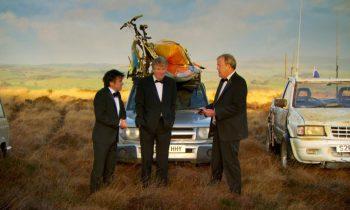 Clarkson, Hammond en May van Top Gear in smoking