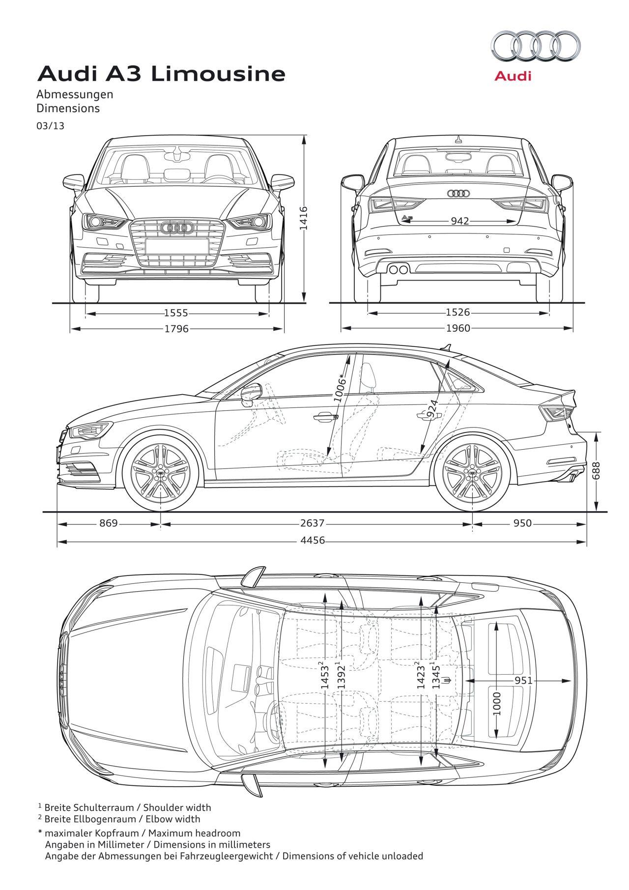 Afmetingen Audi A3 Limousine  CARBLOGGER