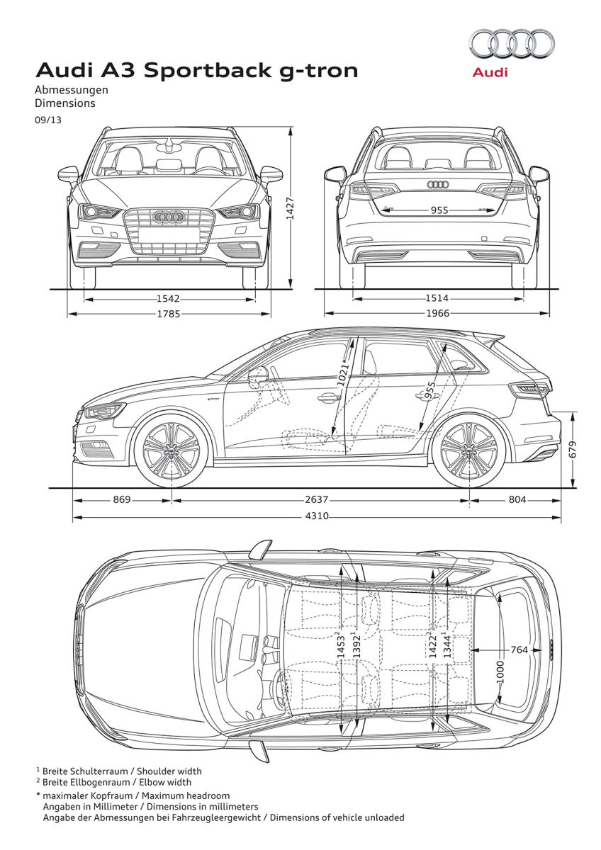 Afmetingen Audi A3 Sportback g tron  CARBLOGGER