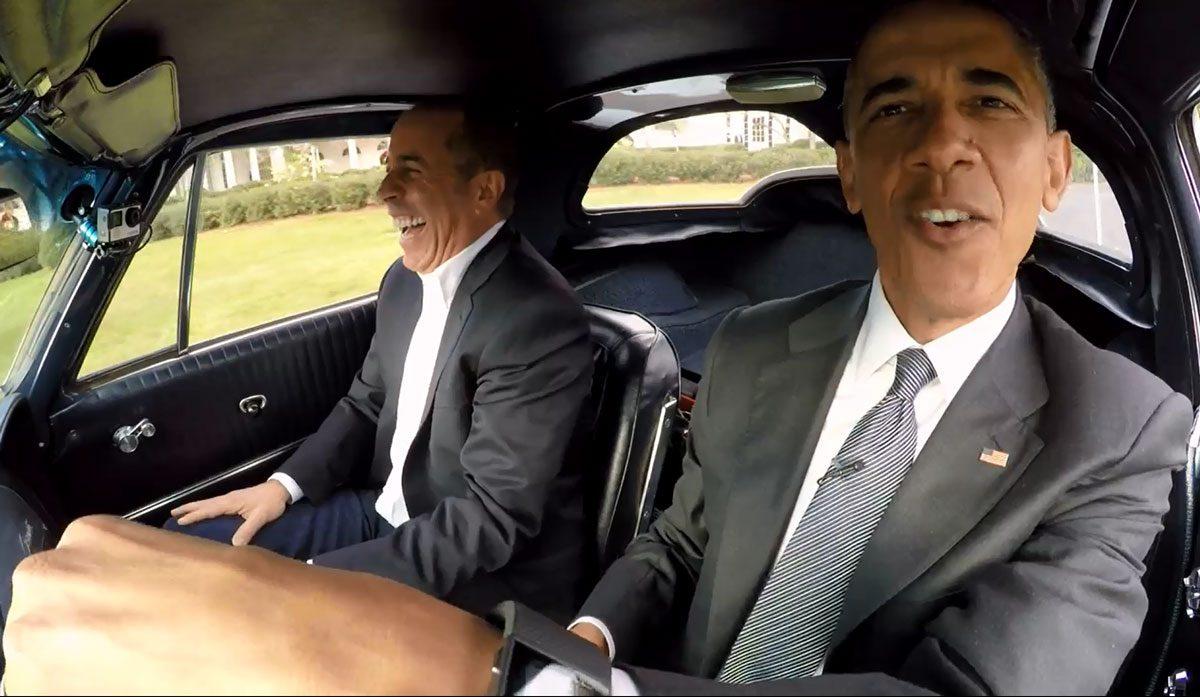 Barack Obama in de Corvette met Jerry Seinfeld