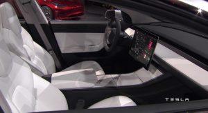 Interieur Tesla model 3 (preview)