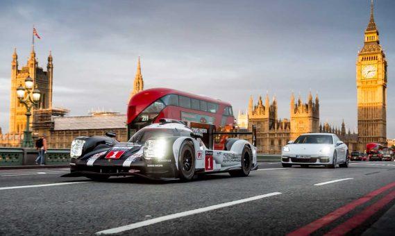 Porsche 919 Hybrid met Panamera Hybrid in Londen