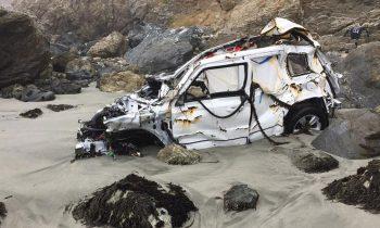 Jeep Patriot van Angela Hernandez nadat ze er mee van een klif af is gereden