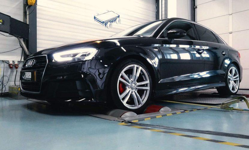 Chiptuning Audi A3 sedan 1.5 TFSI op de rollenbank bij Rica