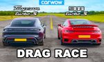 dragrace Porsche Taycan Turbo S vs. 911 Turbo S 2020