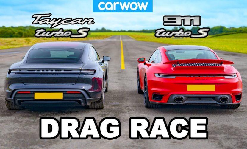 dragrace Porsche Taycan Turbo S vs. 911 Turbo S 2020