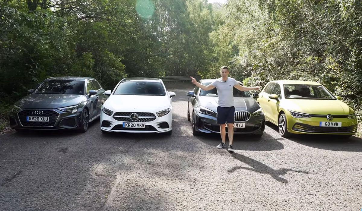 Vergelijkende test Volkswagen Golf 8 1.5 TSI vs. Audi A3 35 TFSI vs. Mercedes A200 vs. BMW 118i (2020)