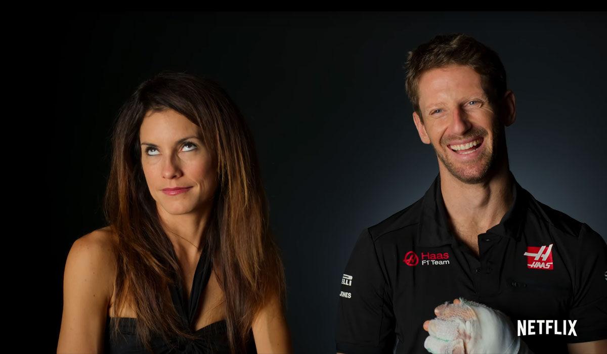 Romain Grosjean met zijn vrouw Marion Jollès Grosjean in Drive to Survive seizoen 3 op Netflix in 2021