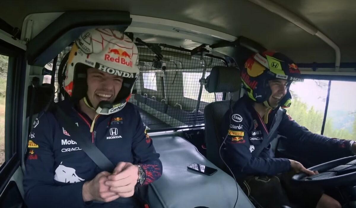 Verstappen en Perez in Pinzgauer tijdens off road race