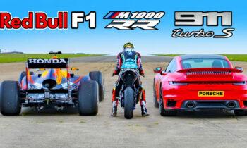 Red Bull F1 raceauto vs BMW M1000 RR vs Porsche 911 Turbo s